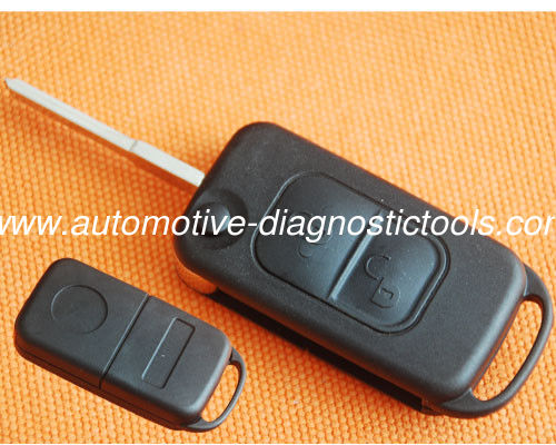 Benz 2 Button Flip Remote Key Shell, Auto Remote Key Blanks With 2 Track Flip Key Blade